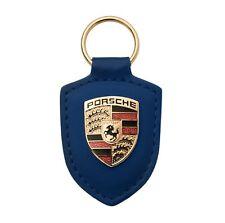 718 GTS 918 911 Macan Porsche Wappen Schlüsselanhänger Leder blau original