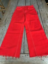 "Fabulous RAG & BONE ""Justine"" Cropped High-Rise Straight Leg JEANS, Poppy Red"