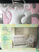 Little Bedding by NoJo Elephant Time 3-Piece Crib Pink Bedding Set BONUS Bumper