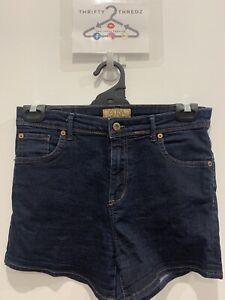 Guess Jeans Women's designer dark blue washed Denim hot pants Shorts W30 GRT