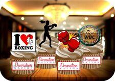Women's Boxing Mix 12 Edible STANDUP Cake Topper Decoration Sport Gloves Ring KO