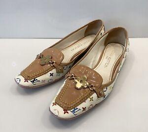 Vintage Louis Vuitton Monogram Multicolor Loafers Shoes Flat LV Logo Sz 36,5