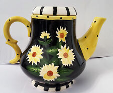 Kanne / Pflanzkanne / Gießkanne / Pflanzgefäß / Teekanne Deko Keramik handbemalt