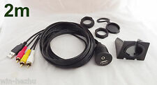 6ft Car Dashboard Flush Mount 3.5mm to Male 3RCA USB Extension Audio&Video Cable