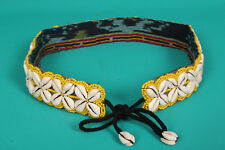 "Colourful YELLOW Beaded Cowrie Shell Belt 30""+12"" ties. Summer Fashion /Festival"