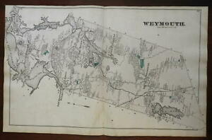 Weymouth Township Massachusetts 1876 Norfolk county large detailed map