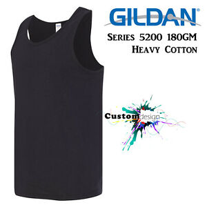 Gildan Black Basic Tank Top Singlet Shirt S - 3XL Men's Heavy Cotton