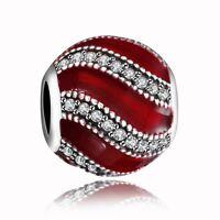 Fine Round Silver Charm Red Enamel Zircon Bead Fit 925 Sterling Bracelets Chain