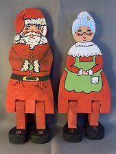 Folk Art Christmas Wooden Santa and Mrs. Clause Shelf Sitters Handcrafted