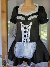 Mistress Maid Black White  size  L  outfit with Thong and garter  new