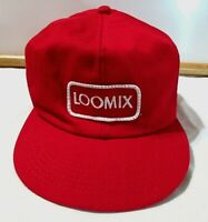 Vintage LOOMIX embroidered patch red twill SNAPBACK Adjustable ball Cap Hat EUC