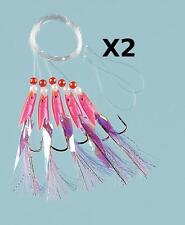 2 Pink Hokki purple Tail Sea Fishing 5 Hook Rig 3/0 Hooks for cod and mackerel