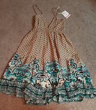 Rajrang Ladies Short, Spaghetti strap Dress, Elastic waist, Tan/turquoise, Sz Md