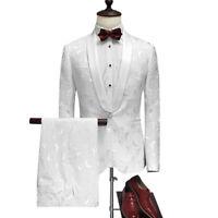 Men 3 Colors Jacquard Paisley Suit Groom Tuxedo Formal Wedding Party Prom Suit