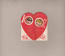 Vintage Valentine Sweet Children I Go For You 100% Pigtail Girl Shy Boy