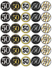 30x 50th Birthday Black Gold Cupcake Toppers Edible Wafer Paper Fairy Toppers