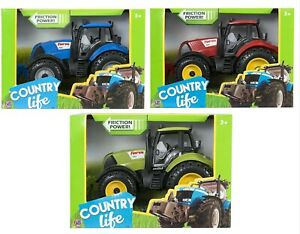 Country Life Large Friction Powered Farm Tractor Toy Opening Bonnet Kids Gift