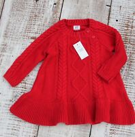 Baby GAP Girls Size 3-6 Months NEW Red Long Sleeve Knit Sweater Dress
