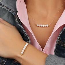 Women Pearl Pendant Gold Chain Choker Chunky Statement Bib Necklace + Bracelet