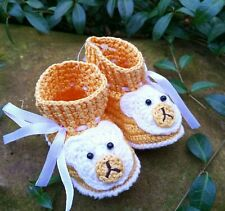 Handmade crochet yellow baby shoes 6-12 m Teddy bear booties