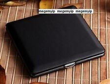 Ultra Super Thin Slim 8 pcs Plain Leather Wiredrawing Cigarette Case Box Black