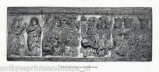 Antique print statues relief / Cathedral Siena 1893 stampa antica Sienna Italia