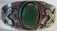 Vintage Navajo Indisch Sterling Schlangen & Pfeile Grün Türkis Armreif Armband