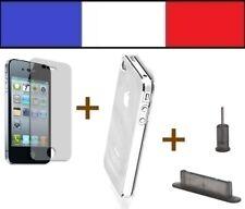 1 PACK DE PROTECTION iphone 4 4s bouchon cache anti poussière fumé film coque tr