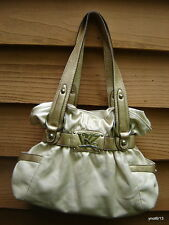 soft vinyl Kathy Van Zeeland beige/gold BELTED CORSET PURSE handbag~8 pockets