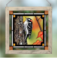 Downy Woodpecker Stained Glass Art by Susan Bourdet Wild Wings