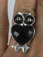 Genuine 3 Stone Interchangeable Owl Sterling Silver Ring Size 7
