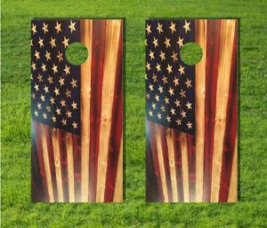 American Flag Wood Paint Cornhole Board Game Decal Wrap USA Laminate Quality Bag