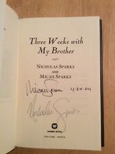 SIGNED by 2 Nicholas Sparks & Micah - Three Weeks With My Brother HC 1st + Pic