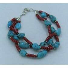 Triple Strand .925 Sterling Silver Natural Turquoise Italian Coral Bracelet