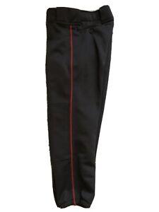 Mizuno Womens Softball Pants Cardinal Red Piping Size S Black EUC