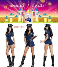 Women's Ladies Blue Police Fancy Dress Halloween Costume Sexy Cop Outfit COS149