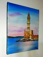 Peinture a l`huile tableau d`un paysage sur toile