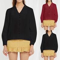 Women Ladies Button Lapel Office Shirt Blouse Long Sleeve Loose Casual Plain Top