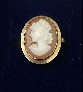 Vintage 9ct Gold Hallmarked Cameo Ring