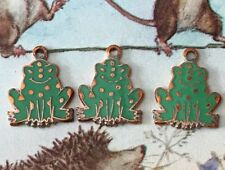 Vintage FROG Charms Frogs Findings Brass Enamel Jewelry Making Copper NOS #G3H