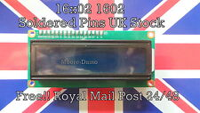 Soldered Pins 1602 16X2 Character LCD Module Display Blue For Arduino UK New