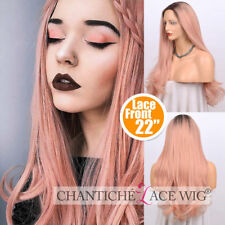 Dark Roots Ombre Pink Wig Long Wavy Synthetic Lace Front Wigs For Women Party 24