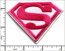 20 Pcs Embroidered Iron on patches Superman Badge Pink/White 7.5x5.6cm AP012eH