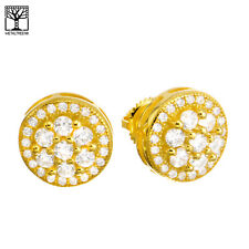 Men's Iced 3D Gold Plated Micro Pave Round CZ Screw Back Earrings SHS 497 G