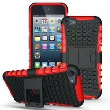 Red Heavy Duty Dual Layer Kickstand Hybrid Case for Apple iPod Touch 6 & 5 Gen