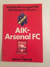 Alk Solna V Arsenal 5/08/1981 Friendly