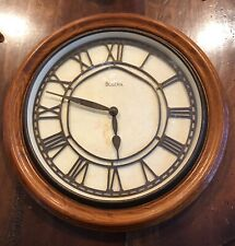 "MISSION CRAFTSMAN STYLE BULOVA WOOD 16"" WALL CLOCK"