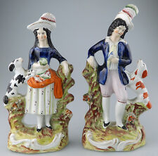 Staffordshire Antique English Pottery a good pair of Figurines C.19thC