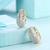 Wholesale 18K Gold Filled Clear Cubic Zirconia Tear Drop Hoop Earrings