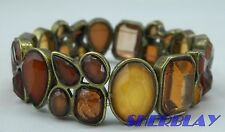 Brown Amber & Cream Faceted Stone Faux Crystal Diamante Stretch Cuff Bracelet
